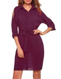 Women Split Batwing Sleeve Solid Striped Casual Loose Shirt Dress With Belt