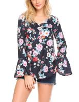 Women V Neck Floral Print Flare Sleeve Loose Blouses Tops 2
