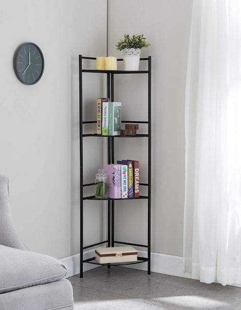 4 Tier Black Finish Metal Frame Corner Bookshelf