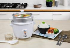 6 Cup Rice Cooker with Steam Tray, White 4