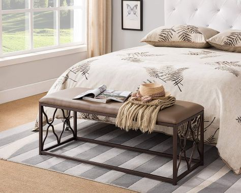 Leather Metal Frame Scroll Design Bedroom Entryway Bench.jpg