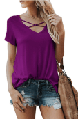 2018-09-16 14_01_26-Karlywindow Womens Criss Cross T-Shirts Summer Casual Short Sleeve Front V-Neck