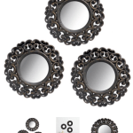 3-Piece Scroll Mirror Set, Black