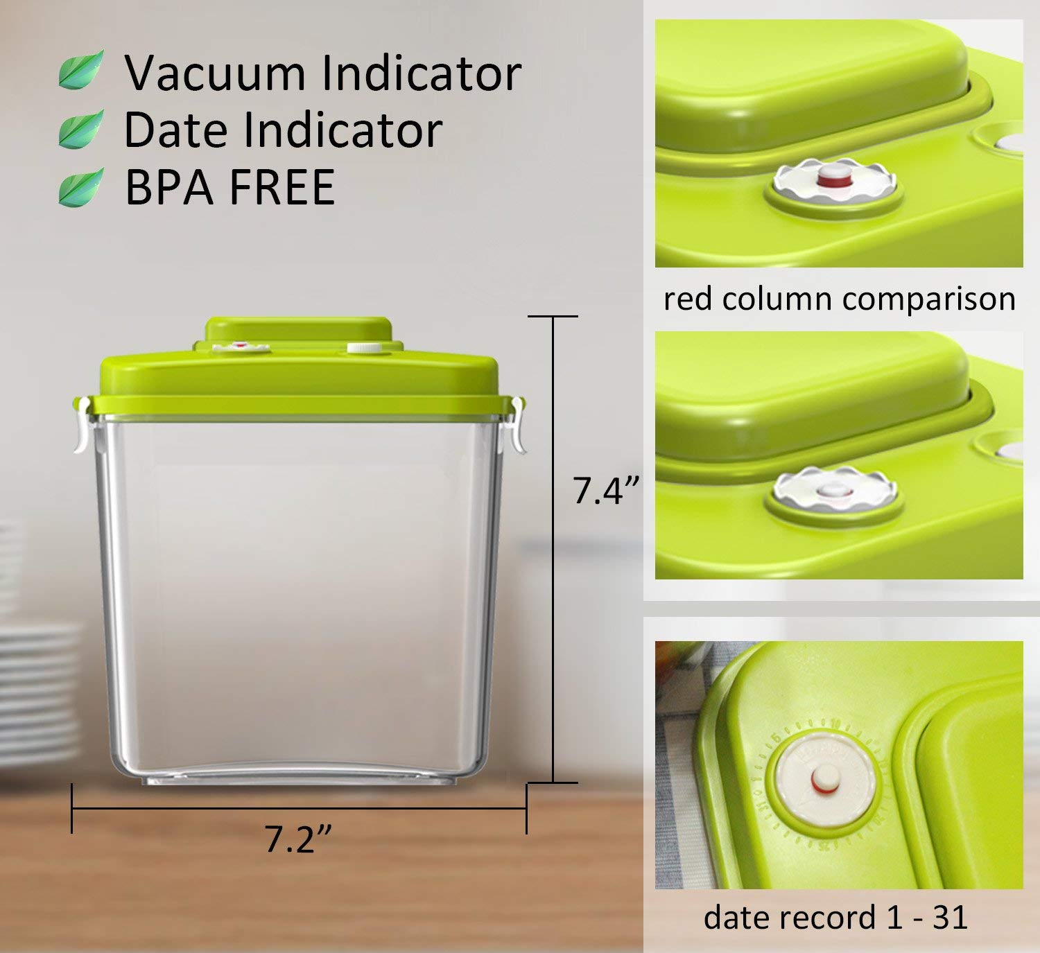Food Storage Container With Vacuum Sealed Airtight Lid 3