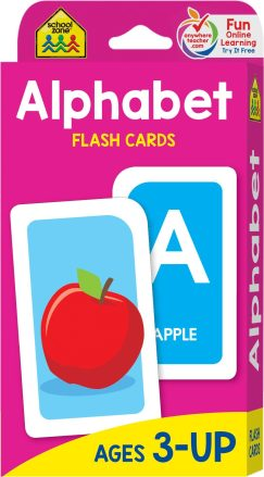 School Zone - Alphabet Flash Cards - Ages 3+, PreK, Letter-Picture Recognition, Word-Picture Recognition, Alphabet, and More Cards
