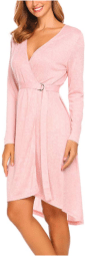 Women Open Front V Neck Long Sleeve Striped Sleep Robes Nightdress with Belt.png 1