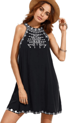 Women's Embroidered Tie Back with Pockets 1