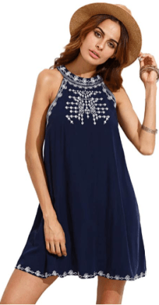 Women's Embroidered Tie Back with Pockets