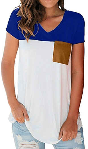 Women's Short Sleeve V-Neck Casual Loose Color Block T Shirt Basic Tee Tops.png 1