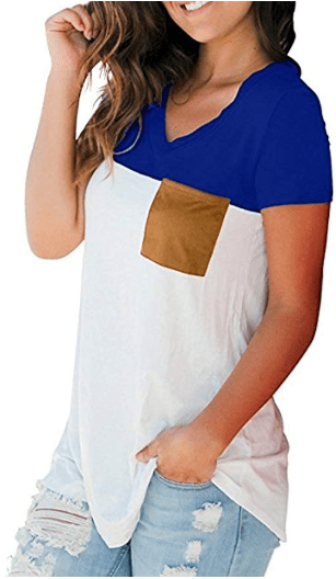 Women's Short Sleeve V-Neck Casual Loose Color Block T Shirt Basic Tee Tops