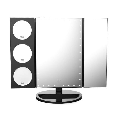35 LED Lighted Vanity Makeup Mirror Tri-Fold with 3X 5X 10X Magnifiers 360 Degree Free Rotation 1