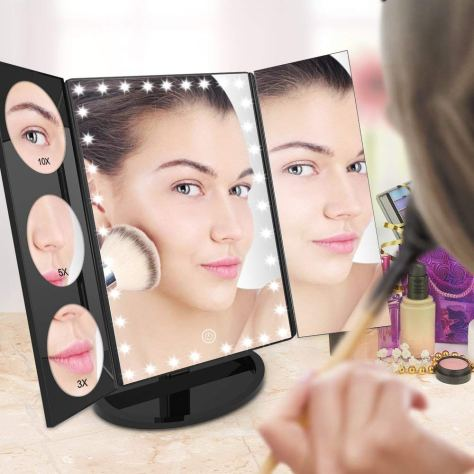 35 LED Lighted Vanity Makeup Mirror Tri-Fold with 3X 5X 10X Magnifiers 360 Degree Free Rotation 2