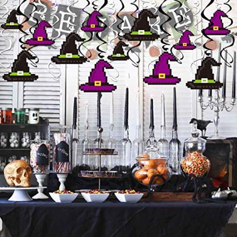 40Pcs Halloween Hanging Swirl Decorations Witch Hat Swirl Ceiling Hanging Decoration 1
