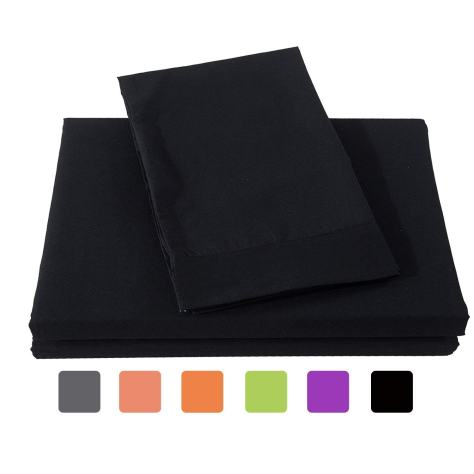 Microfiber Bed Sheet Set, 4 Pieces Queen Size Sheets, Black 1