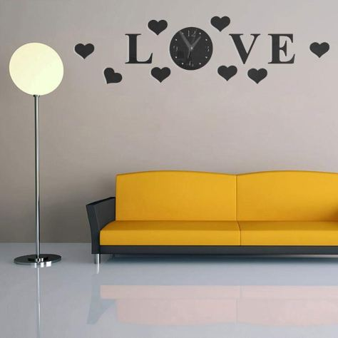 Wall Clock with 3D Mirror Large Letter Love 1