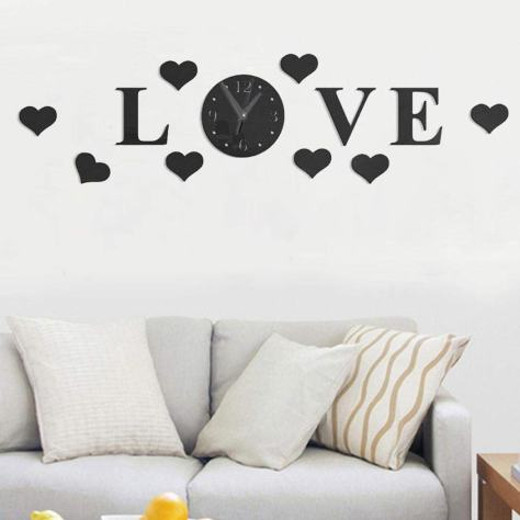 Wall Clock with 3D Mirror Large Letter Love
