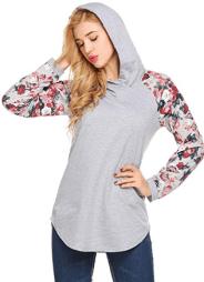 Women's Casual Floral Print Long Sleeve Hoodie Pullover Hooded Sweatshirt Tops 1