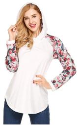 Women's Casual Floral Print Long Sleeve Hoodie Pullover Hooded Sweatshirt Tops 2