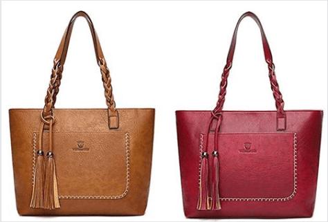 Women Vintage PU Leather Tote Shoulder Bag