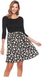 Women's 3 4 Sleeve Off Shoulder Patchwork Flower Floral Print Casual Dress 1