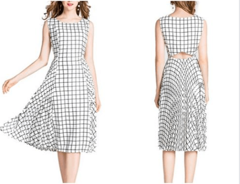 Women's Sleeveless White Plaid Gingham Pleated Midi Dress