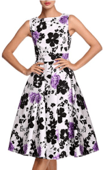 Women's Vintage Floral Spring Garden Party Picnic Dress 3