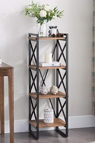 4-tier Rustic Brown Finish Metal Frame X-Design Bookcase 1.jpg