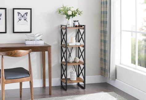 4-tier Rustic Brown Finish Metal Frame X-Design Bookcase