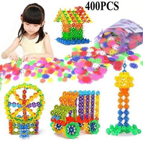 400 Pcs 3D Puzzle Jigsaw Plastic Snowflake Building Blocks