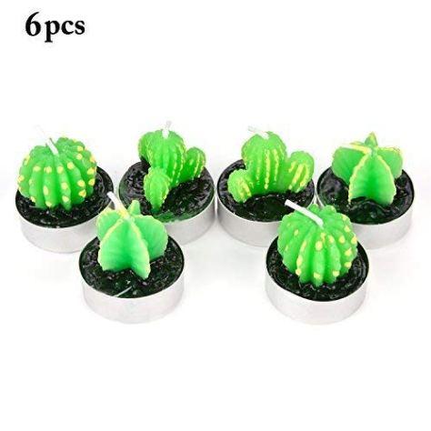 6 Pcs Handmade Delicate Succulent Cactus Tealight Candles 2