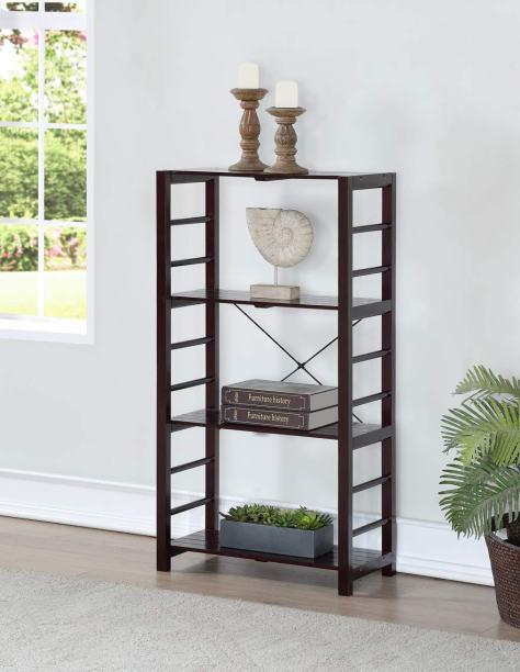 Espresso Finish Solid Wood Frame 4 Tier Bookshelf