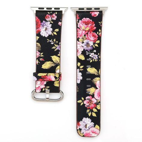 Floral Printed Leather Watch Band Strap for Apple Watch 2