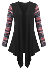 Long Sleeve Tribal Print Patchwork Open Front Asymmetrical Cardigan 2