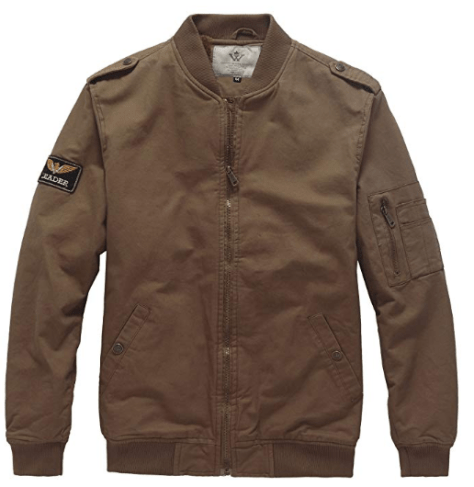 Men's Winter Casual Bomber Jacket with Patches