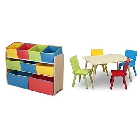 Multi-Bin Toy Organizer & Kids Table and Chair Set