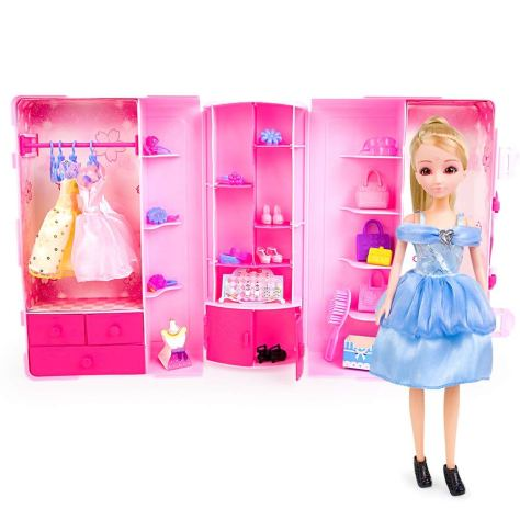 Princess Doll for Girls with Fashionistas Closet Dress Up Set, Pink (1 Doll Inside)