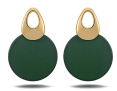 Round Curved Dangle Earrings with Matte Paint Discs