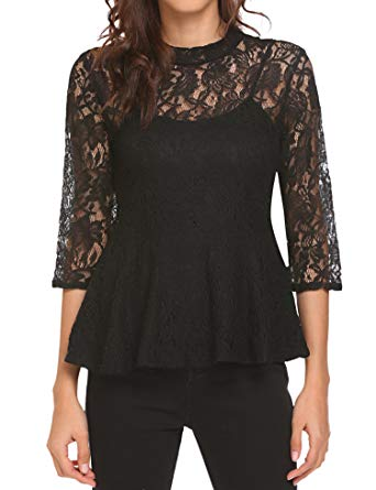 Women's Mock Neck Sleeve Floral Lace Keyhole Back Top Blouse with Button.jpg