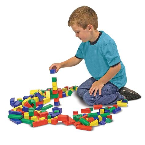Wooden Building Blocks Set - 100 Blocks in 4 Colors and 9 Shapes 1