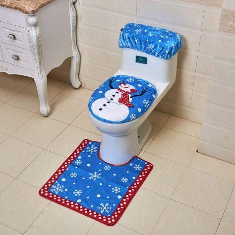 Christmas Decorations Snowman Santa Toilet Seat Cover and Rug Set for Bathroom - Blue 1.jpg
