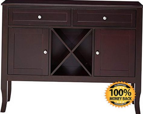 Dark Cherry Finish Wood Wine Cabinet Breakfront Buffet Storage Console Table 2.jpg