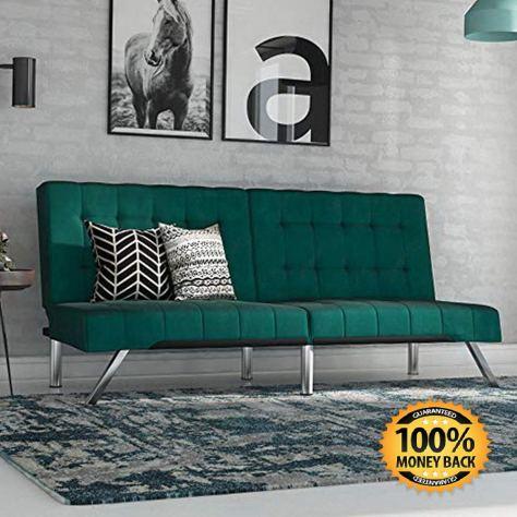 Futon Sofa Bed, Modern Couch, Green Velvet