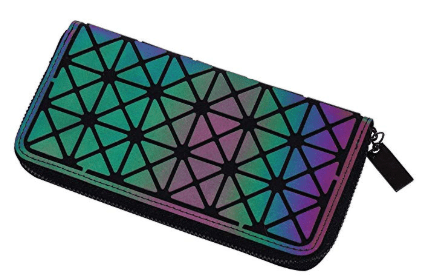 Holographic Geometric Clutch Wallet
