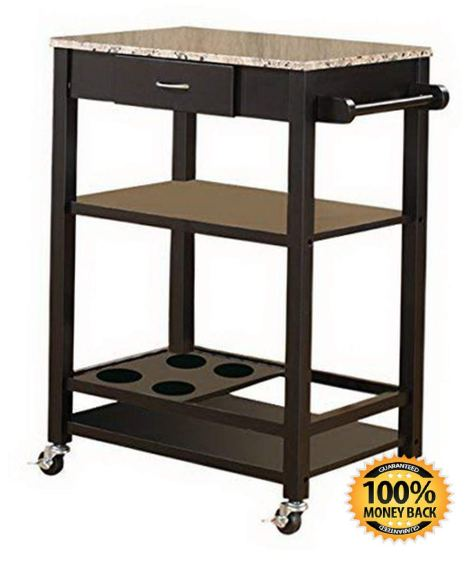 Marble with Wood Kitchen Buffet Serving Cart, Black Finish 1.jpg