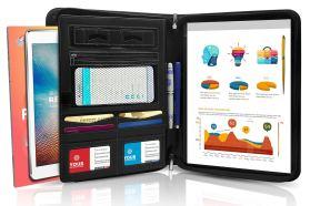 Premium Resume Business Leather Portfolio Folder with Phone Stand