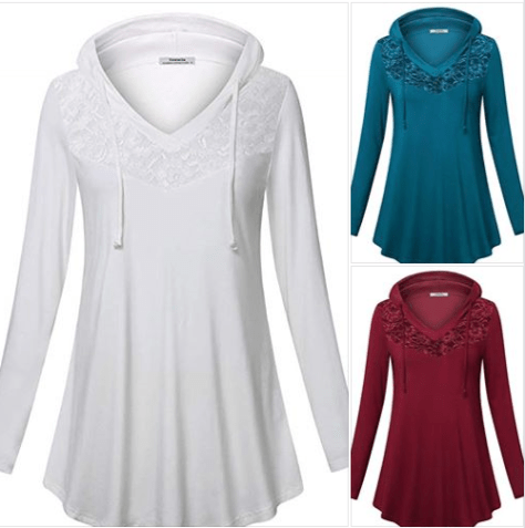 Women's Pullover Hoodie Long Sleeve V Neck Lace Casual Tunic Tops