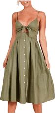 Womens Sleeveless Summer Spaghetti Strap Button Down Swing Midi Sundresses 3
