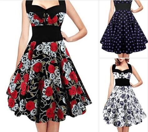 Women's Vintage Skull Print Halter 1950s Retro Cocktail Dress Plus Size Floral Print Dresses