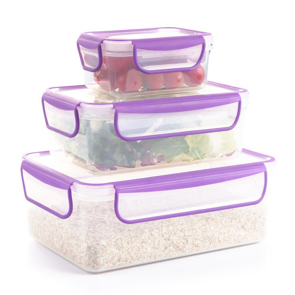 Amazon: Food Storage Containers, Airtight Leak-Proof Lock Durable Plastic Microwaveable Bento Box Dishwasher and Freezer Food-Safe, BPA Free (Purple, 3-Piece) for $5.20 with code