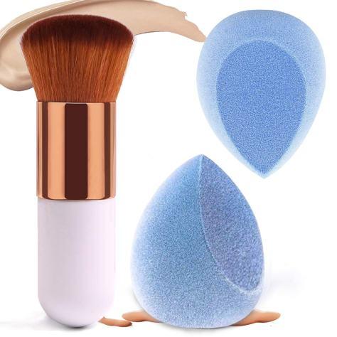 2+1Pcs Velvet Makeup Sponge with 1 Foundation Brush